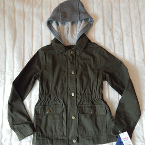 Limited Too Girls Hooded Twill Jacket Green